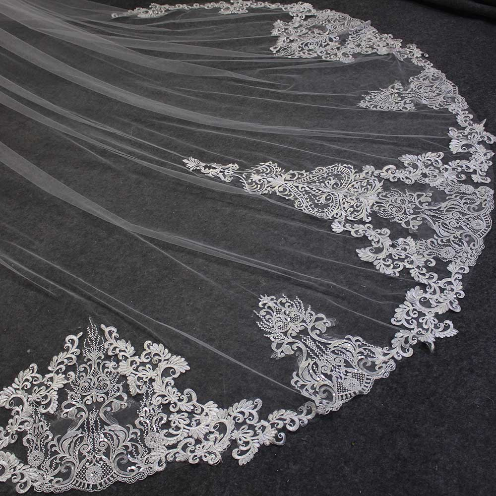 Beautiful Long 2T Wedding Veil With Comb 3 Meters 2 Layers Cathedral Bridal Veil Ivory Veil For Bride Wedding Accessories