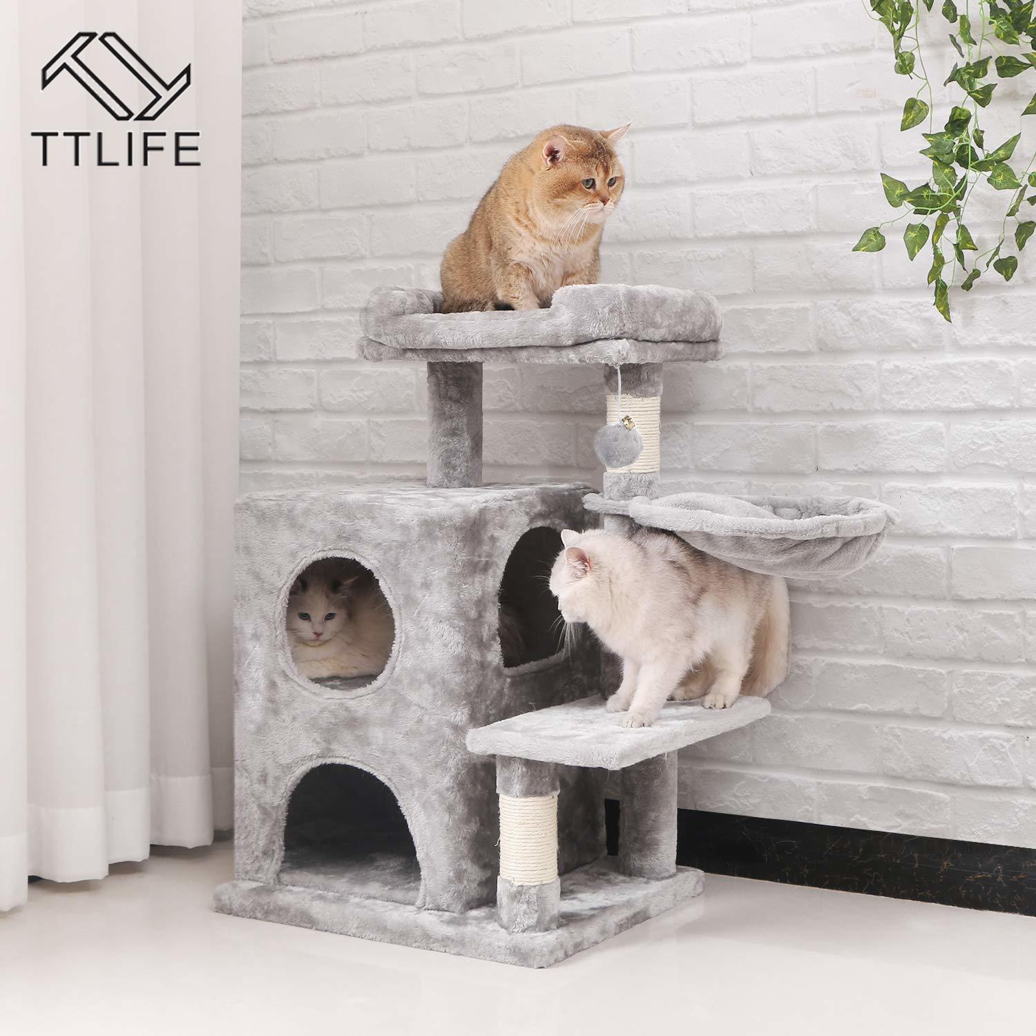 Light Grey Cat Tree Condo with Sisal Scratching Posts Plush Perch Cat Tower Furniture Kitty Activity Center Kitten Play House