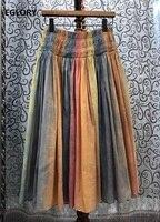 100%Cotton Skirts 2020 Spring Summer Style Women Sweet Rainbow Color Print Elastic Waist Mid Calf Length A Line Basic Skirts XL