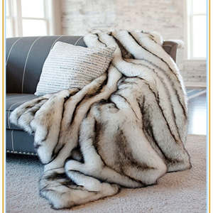 Imitation fox blanket faux fur throw for Couch Sofa Bed White with Black tips