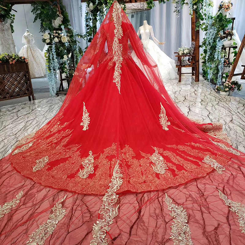 HTL787 muslim wedding dress with sleeve high neck pattern beading lace up back red dress wedding gown with bridal veil mariage