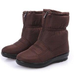 Image 4 - الشتاء أحذية حريمي برقبة منصة الإناث الثلوج حذاء من الجلد مقاوم للماء السيدات أفخم نعل الفراء بوتا الأنثوية 2020 أسود بوتين