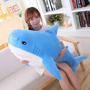 Big Plush Shark From Ike A Stuffed Animals Russia Shark Plush Toys Grey Pink Blue Kawaii Shark Dolls for Kids Gift 35-120cm(China)