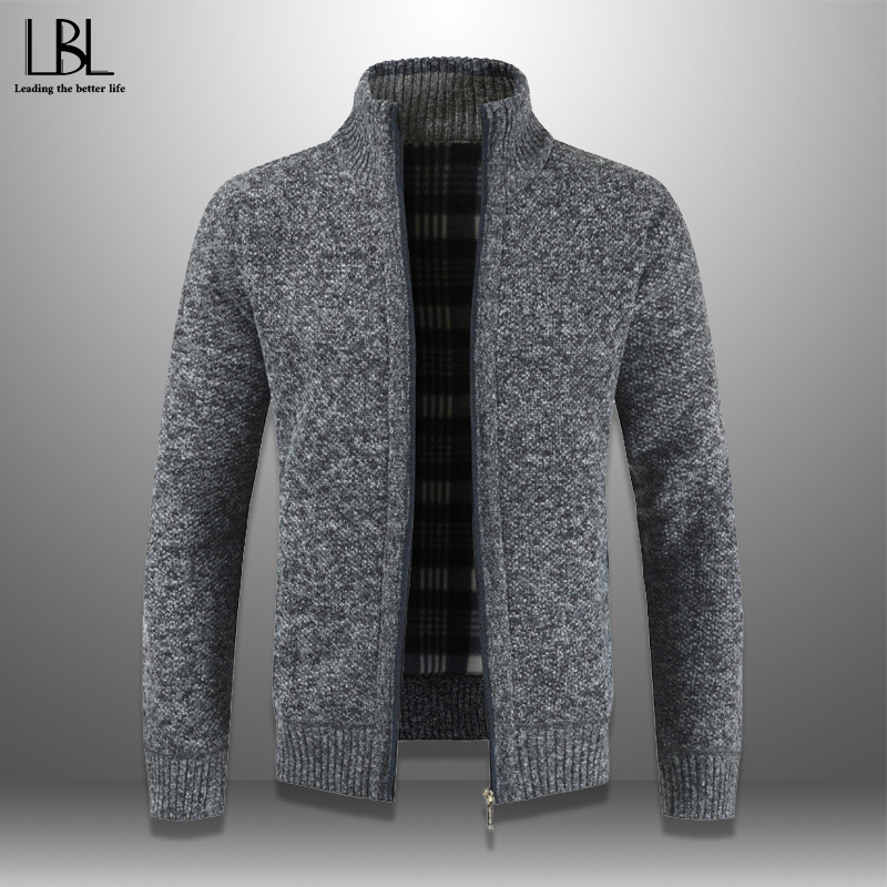 Mens Cardigan Autumn Winter Warm Thick Sweater Casual Knitwear Wind Breaker Jacket Stand Collar Overcoat Men Zipper Knitted Coat
