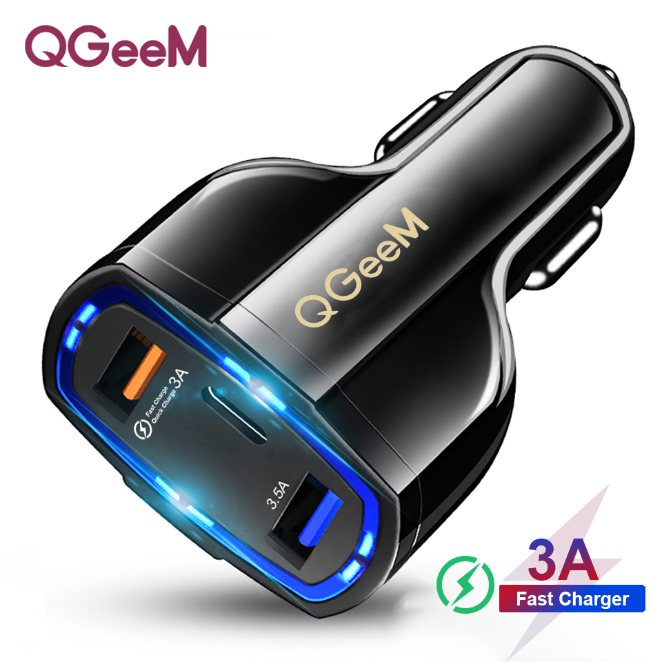 QGEEM QC 3.0 USB C Car Charger 3 Ports Quick Charge 3.0 Fast Charger for Car Phone Charging Adapter for iPhone Xiaomi Mi 9 Redmi-in Car Chargers from Cellphones & Telecommunications