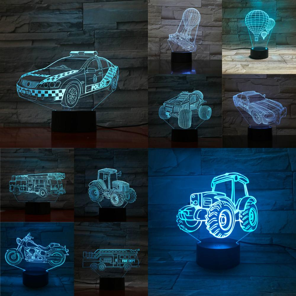 3D USB Car Motocycle Lamp Sand Tractor  Hot Air Ballon Night Light Touch Remote Lampa Bedroom Table Beside Decora Acrylic Plate