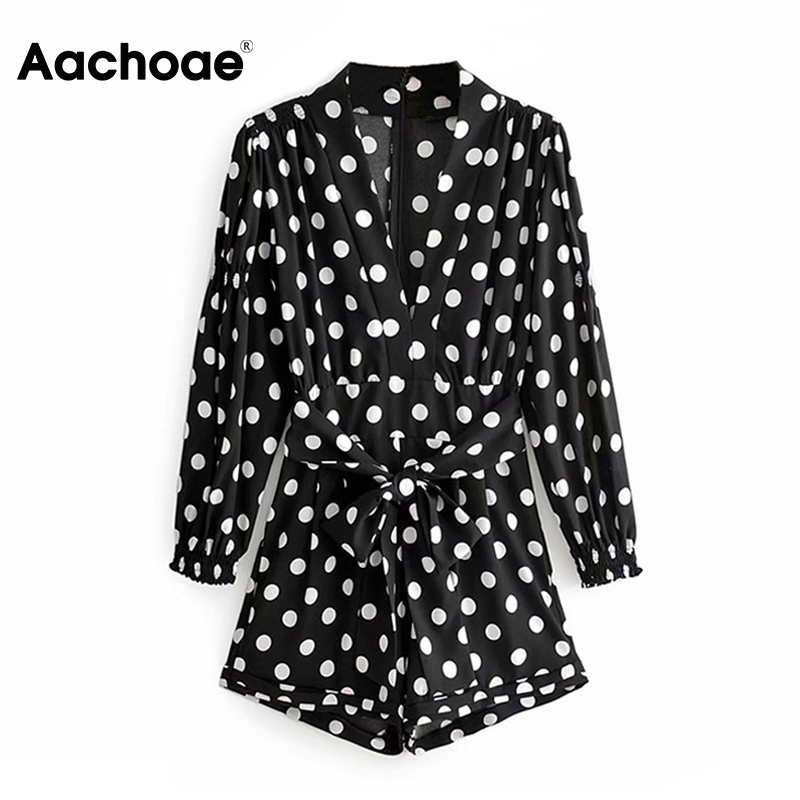 Women Polka Dot Playsuits Elegant Bow Tie Puff Long Sleeve Jumpsuit Streetwear Romper 2020 Summer Holiday Beach Short Overalls