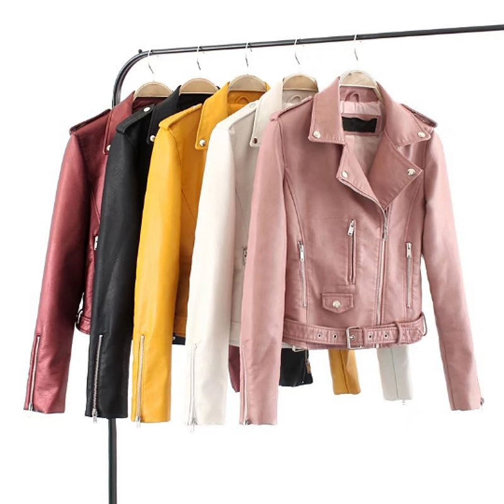 2019 Autumn Women Slim Cool Lady PU Leather Jackets Sweet Female Zipper Faux Femme Outwear Coat Plus Size Short Jackets