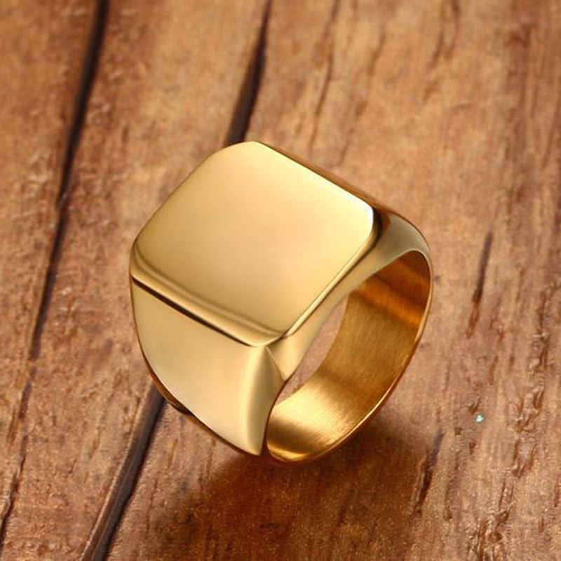 الذهب والفضة الرجال خواتم Signet التيتانيوم الفولاذ المقاوم للصدأ العصرية الشرير الصخرة الهيب هوب السائق الفرقة فايكنغ القوط خاتم الذكور DCR036