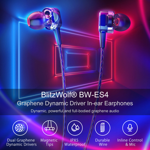 Image 2 - BlitzWolf 3.5mm Wired Earphone With Mic In ear Earbuds Earphones With Microphone Universal For Samsung For iPhone 6s Smartphone