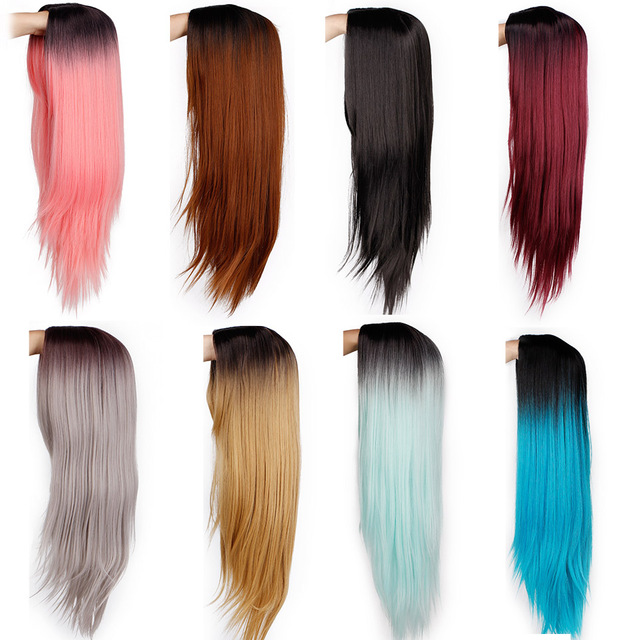Ombre Blue Green Straight Long Synthetic Wigs For Women Black Pink Wigs 24 inch can be Cosplay Wigs Heat Resistant  I's a wig 2