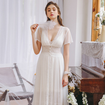 Sweet Court Lace Sexy Sleepwear Female Summer Thin Section Princess Home Service Set Soft Feather Yarn Two-Piece GZ12