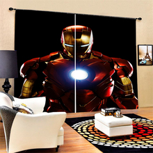 Iron Man Home Decor Curtains 2 Panel Polyester Blackout Custom Curatins for Bathroom Bedroom