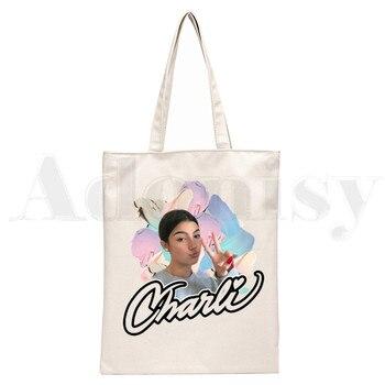 Ice Coffee Splatter Charli DAmelio Ulzzang Print Reusable Shopping Women Canvas Tote Bags Eco Shopper Shoulder Bags 21