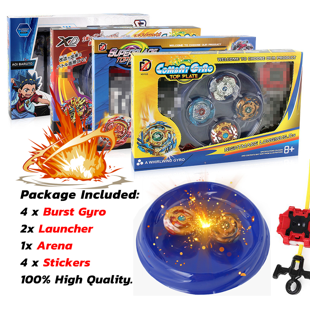 4 Pcs Bey Blade Metal Fusion Set With 2 Launcher And 1 Arena, Bay Blades  GT Boys Toy Burst Turbo Spinning Tops Battle Games