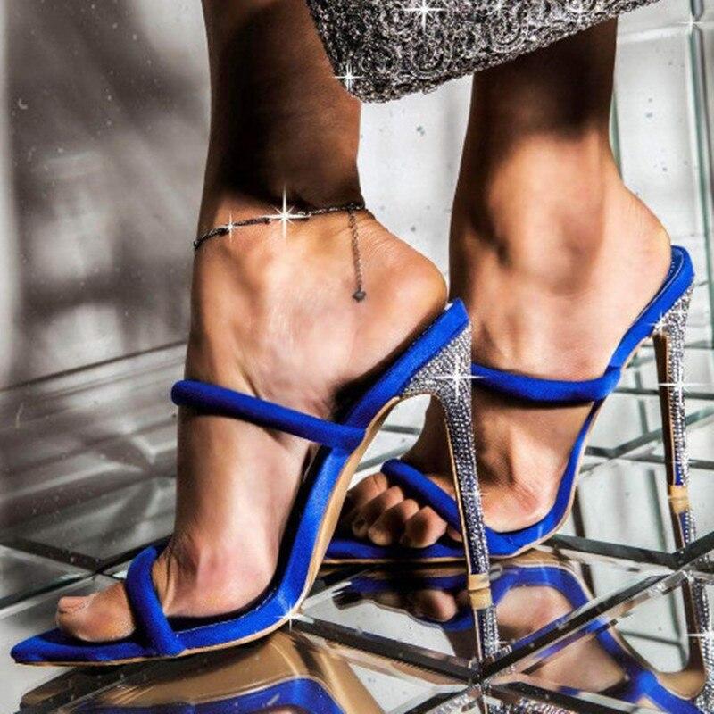 Aneikeh NEW Sexy Glitter Rhinestone Pointed End Peep Toe High Heel Slippers Summer Fashion Slip On Thin Heels Slides Women Mules