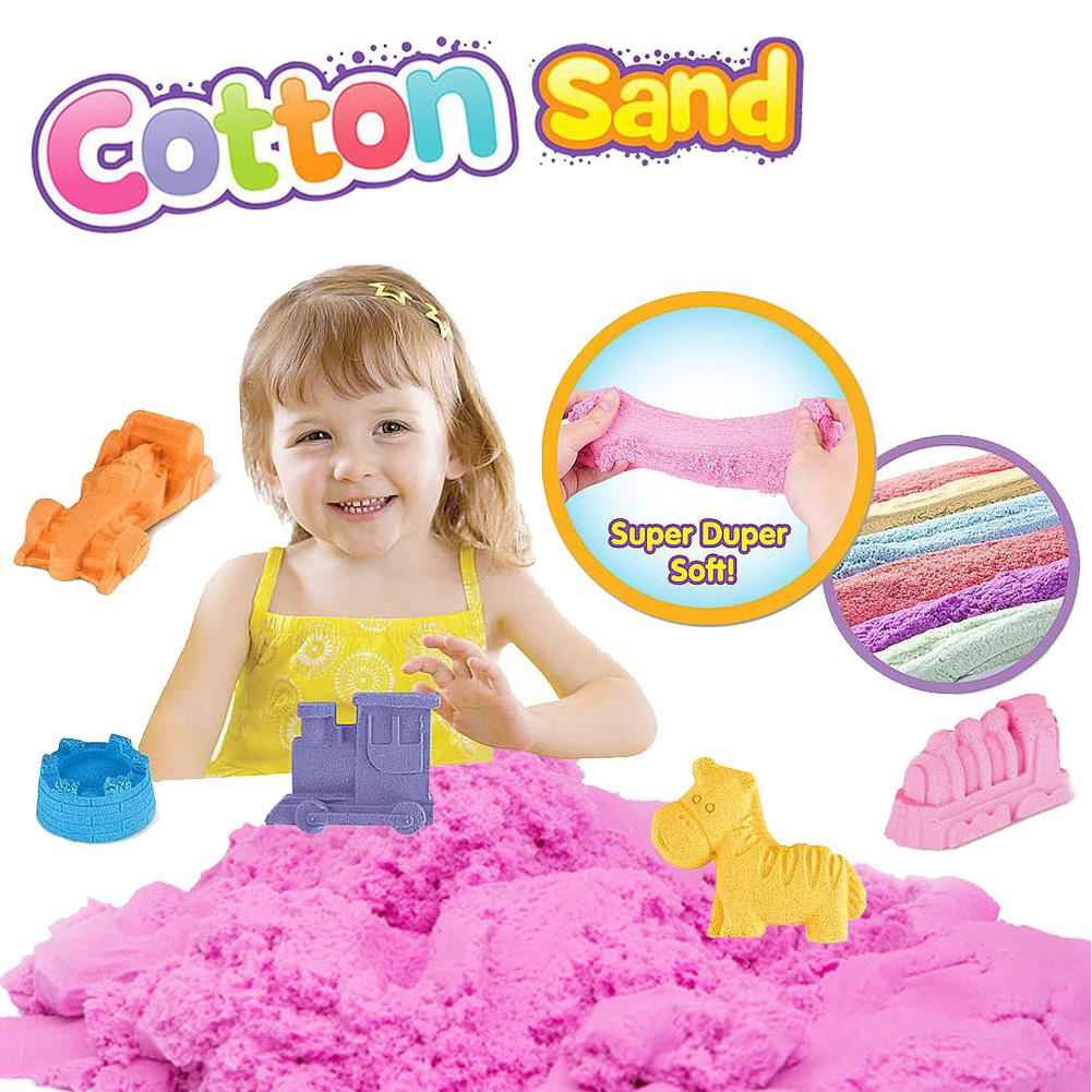 Kuulee 6Color Magic Cotton Sand Set Children DIY Toy Kids Plasticine Puzzle Make Car Cake Parent Interactive Play Boys Girls