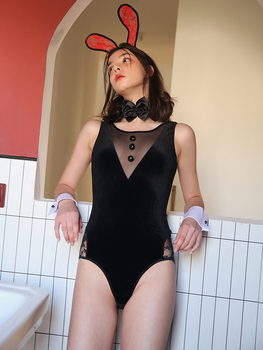 Sexy woman in bunny style with plush tail seduced low-cut see-through jumpsuit woman sexy jumpsuit bunny costume printio bunny in confusion