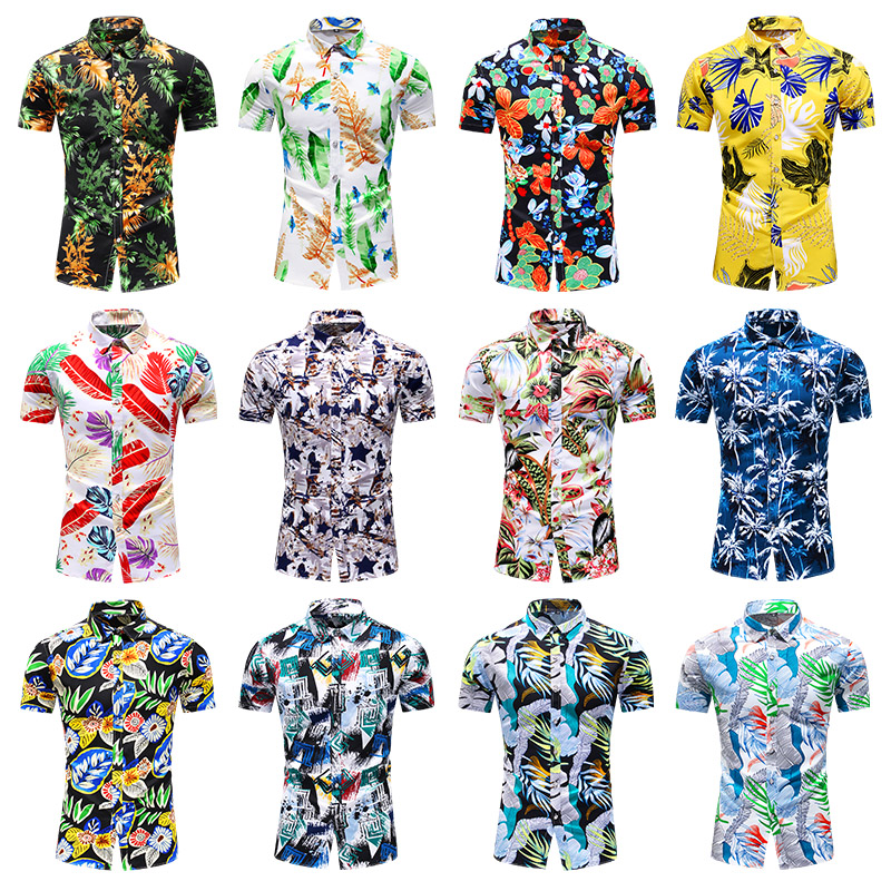 New 2021 summer men's latest beach ball shirt high quality large size casual party fashion floral shirts for men chemise homme