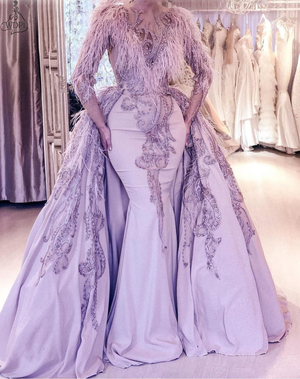 Lavender Mermaid Prom Dress With Detachable Train 2020 Feather Evening Gowns Long Sleeve Overskirts Beads Embroidery Formal Plus Size GownLavender Mermaid Prom Dress With Detachable Train 2020 Feather Evening Gowns Long