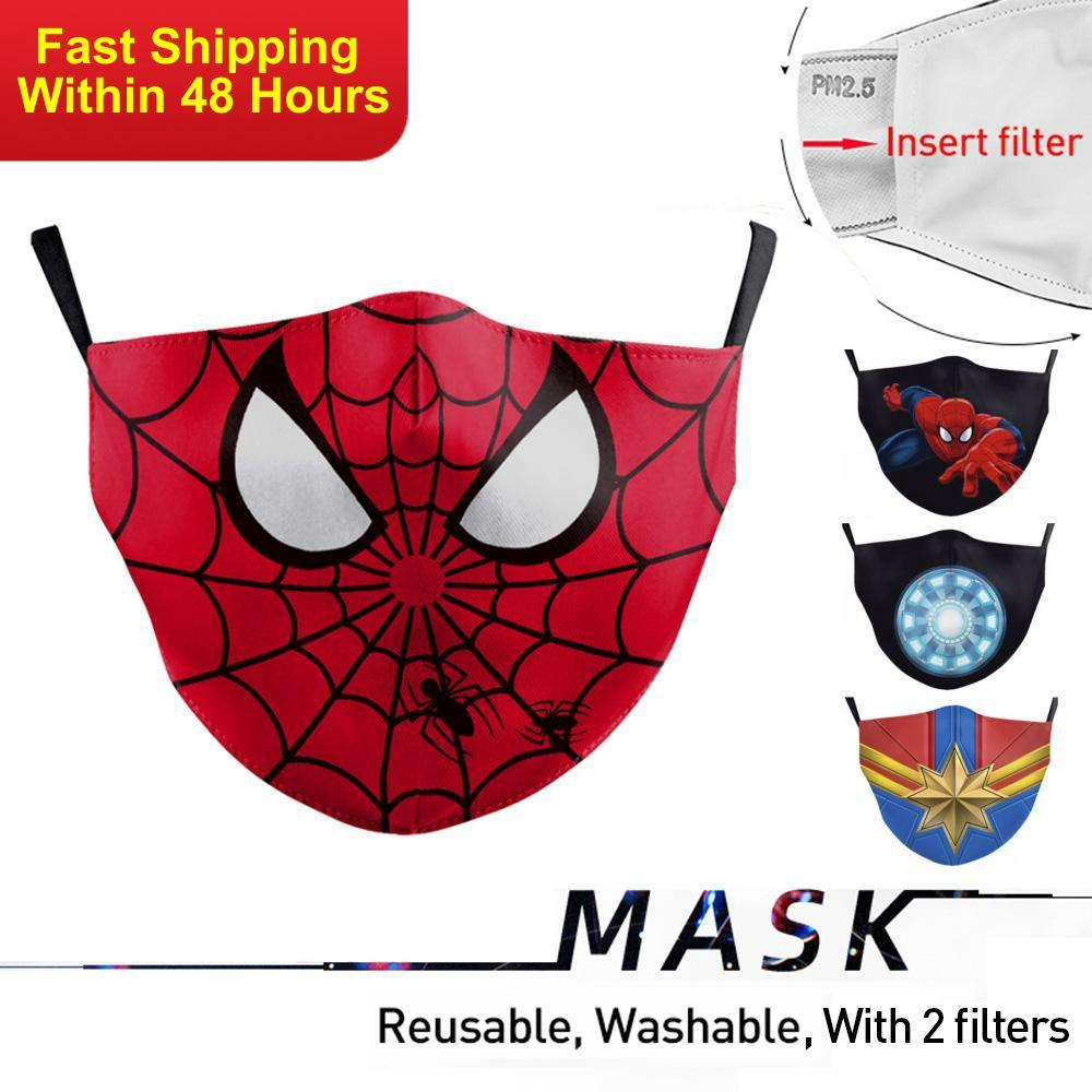 Zawaland Baby Kid Face Mask Washable Cartoon Spiderman Print Mouth Mask Cover Reusable Dust-proof Mouth-muffle
