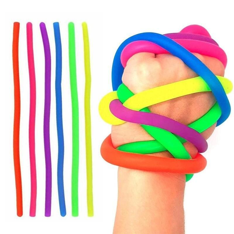 4 pçs/lote TPR Macio Anti Stress Brinquedos de Corda Fidget Macarrão Stretch/Pull/Giro/Envoltório/Squeeze Toy Neon slings DIY Mão-de malha Corda