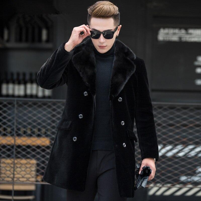 Real Sheep Shearling Fur Coat Winter Jacket Men Mink Fur Collar Wool Coats Windbreaker Warm Jackets Manteau MG-00-7079 MY1873
