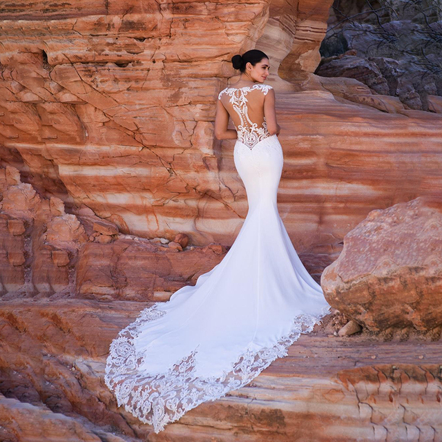 Satin Mermaid Wedding Dress Boho Sexy Sleeveless V Neck Beaded hijab Bridal Dress Wedding Gowns Women Long Train 3