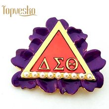 Pureple Fiore DST AEO Delta Sigma Theta Sorority Perla Spilla Laple pin Gioielli(China)