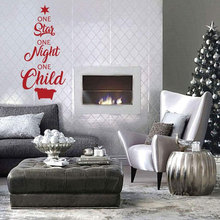 One Star Night Child Quote Wall Sticker Vinyl Home Decor Christmas Tree Design Holiday Decals Interior Window Mural 3701