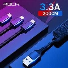 ROCK 3 en 1 câble USB câble à ressort rétractable pour iPhone Samsung Xiaomi 3.3A charge rapide type c câble de données Microusb câble de fil