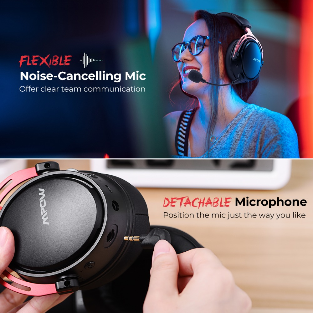 Mpow BH415 Gaming Headset 2.4GHz Wireless Headphones 3.5mm Wired Earphone With Noise Canceling Mic For PC Gamer For PS4 Xbox One (3)
