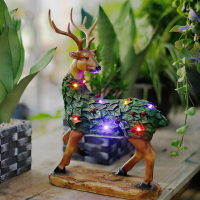 Wild Animal Deer Ornaments With LED Lamp Creative Living Room Modern Resin Home Garden Decorations Desktop Craft X'max Gift