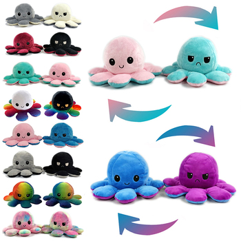 Flip two-sided Octopus Plush Stuffed Doll Toy Different Sides To Show Different Moods Soft Simulation Octopus Plush Toy For Kids