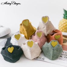 1 Pair Japanese Candy Color Heel Embroidery Heart-shaped Woman Sock Cotton Femal Trend Socks Summer Breathable Short Boat