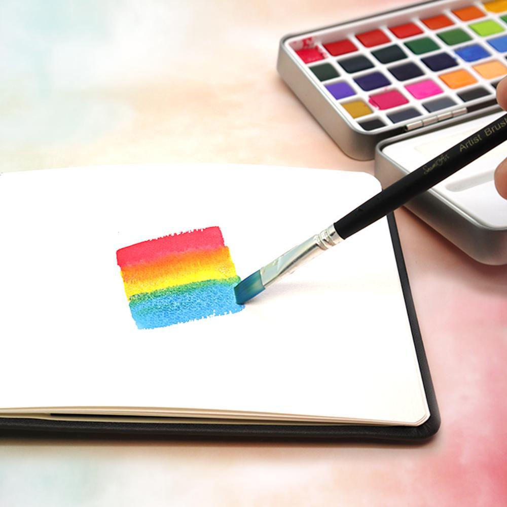 SeamiArt, 50/72/90 цветов, однотонные акварельные краски в наборе, Набор цветных красок, портативная металлическая коробка, пигмент цвета воды для начинающих, рисование, водные цветные бумажные принадлежности 5