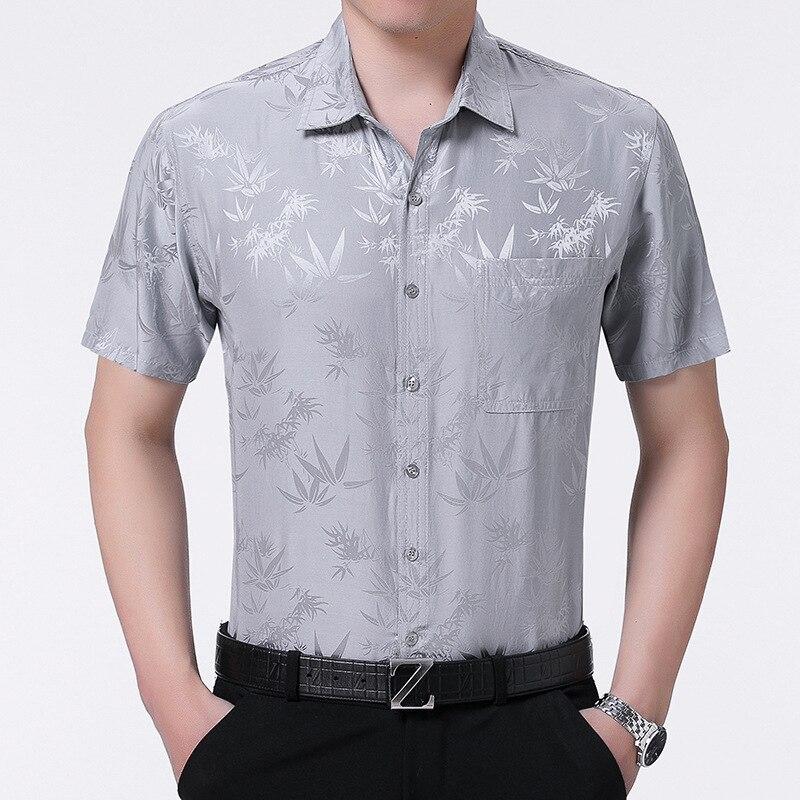 2020 New Summer 100% Silk Dress White Short Sleeve Shirt Formal Shirts For Men High Quality Gentlemen Camisas KJ1951