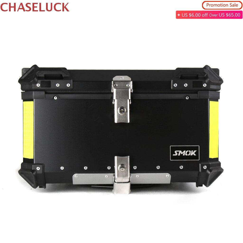 55L 65L Aluminum Motorcycle Luggage Case Storage Top Tool Box Helmet Rear Lock Trunk Universal For Honda Suzuki Kawasaki Yamaha