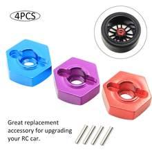 Adaptador de cubo para roda hex 4 un. 12mm, acoplador de roda com parafusos de pinos para hsp hpi redcat tamiya traxxas carro rc rc4wd d90 1/10