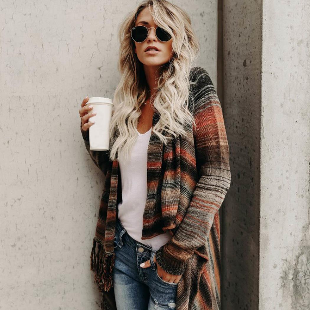 New Fashion Women Casual V-neck Long Regular Fit, Asymmetrical Hem Sleeve Prints Regular Tassel Cardigan