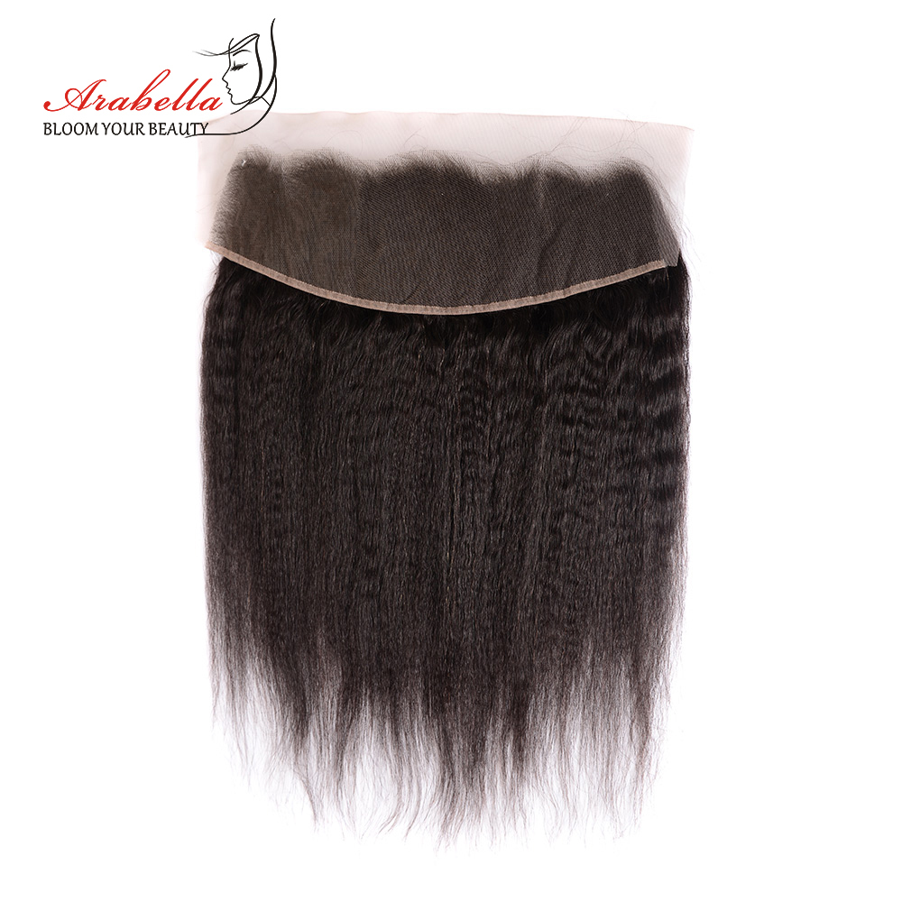 Kinky Straight Hair Bundles With Lace Frontal Arabella  Hair Pre Plucked Bleached Knots 13*4 Lace Frontal With Hair Bundles 4