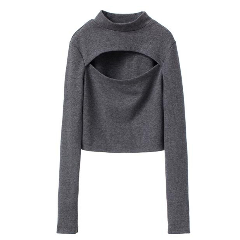Spring Autumn Women T-shirt Hot Sexy Solid Color Long Sleeve Hollow Out Women Tops Tees Stand Collar Women T shirts