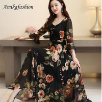 Bohemian Style Dress 2019 Summer New Arrival Round Collar Flower Printed Flare Sleeve Plus Size M 5X LWoman Chiffon Long Dress