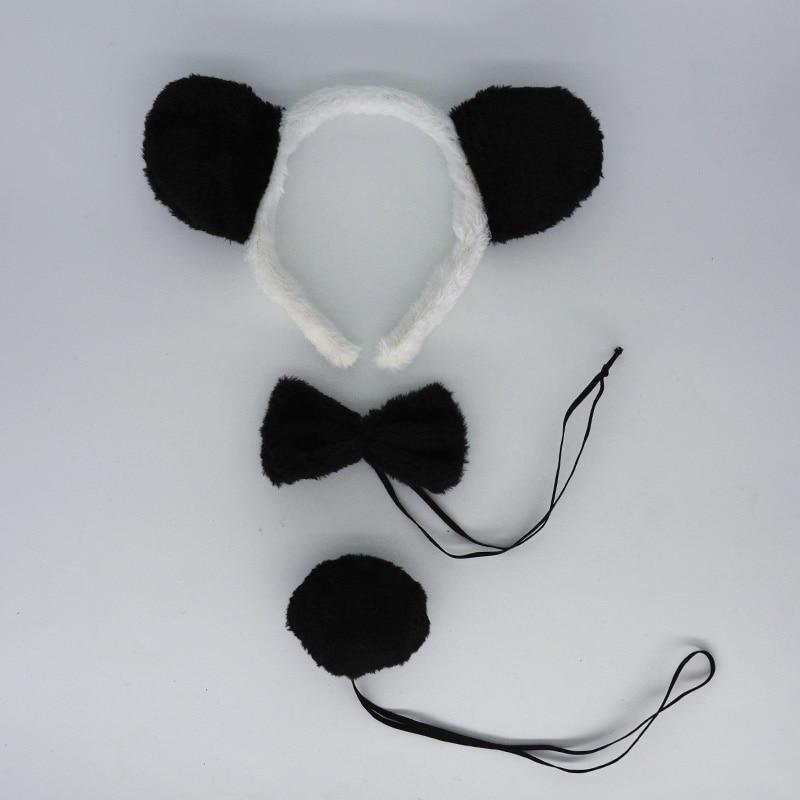 Детская повязка на голову с ушками животных для мальчиков и девочек; комплект с галстуком-бабочкой и хвостом для детей и взрослых; карнавальный костюм; вечерние аксессуары для волос - Цвет: 6