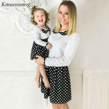 Autumn Mother Daughter Dresses 2019 mommy and me clothes Long Sleeve Doll Collar Dots Print Dress Mom C0545