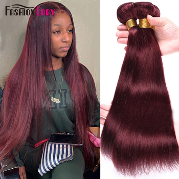 Fashion Lady Pre-Colored Brazilian Straight Bundles human Hair Dark Red 99j 3/4 Bundle Per Pack Non-Remy - discount item  45% OFF Beauty Supply