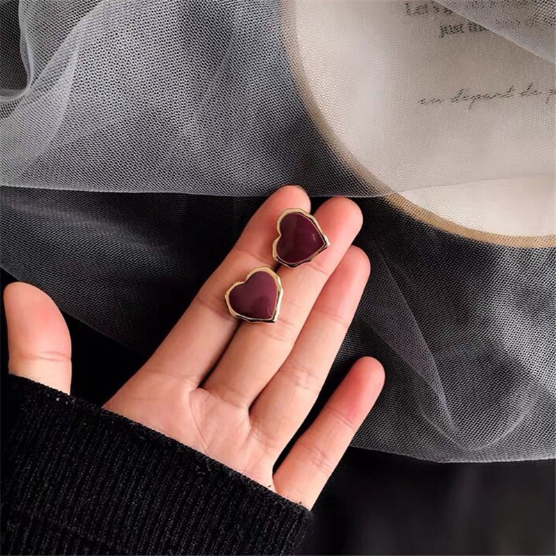 Korean Trendy Fashion Ladies Girls Love Personality Temperament Net Red Simple Oil Earring <font><b>Aliexpress</b></font> Sale Aretes De Mujer image