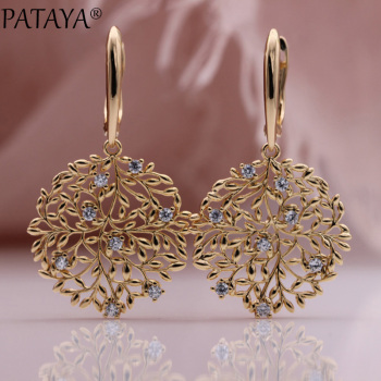 pataya new 585 rose gold extreme luxury micro wax inlay natural zircon flowers chokers necklace women wedding party fine jewelry PATAYA New Safe Tree Long Earrings 585 Rose Gold Hollow Unique Fashion Jewelry Christmas Gift Natural Zircon Luxury Drop Earring