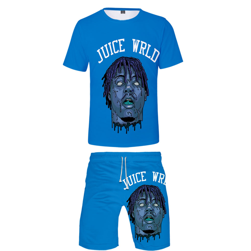 Juice Wrld 2019 New Summer Two Piece Set Casual Hiphop Comfy Set Shot Sleeve Tshirt With Beach Shorts Men Streetwear Sports Set