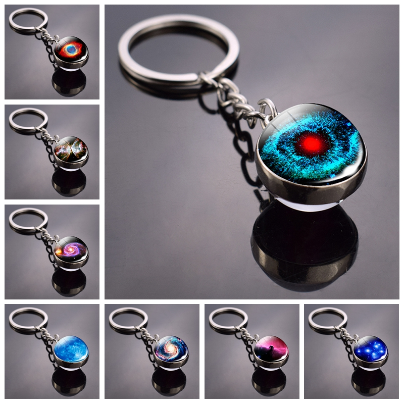 Helix Nebula Planet Keychain The Andromeda Galaxy Art Picture Glass Ball Pendent Keychain Star Keyring Astronomy Gift